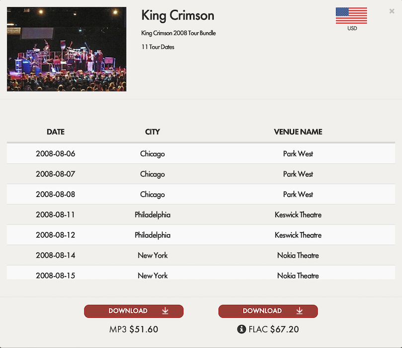 King Crimson / 2008 Tour Bandle